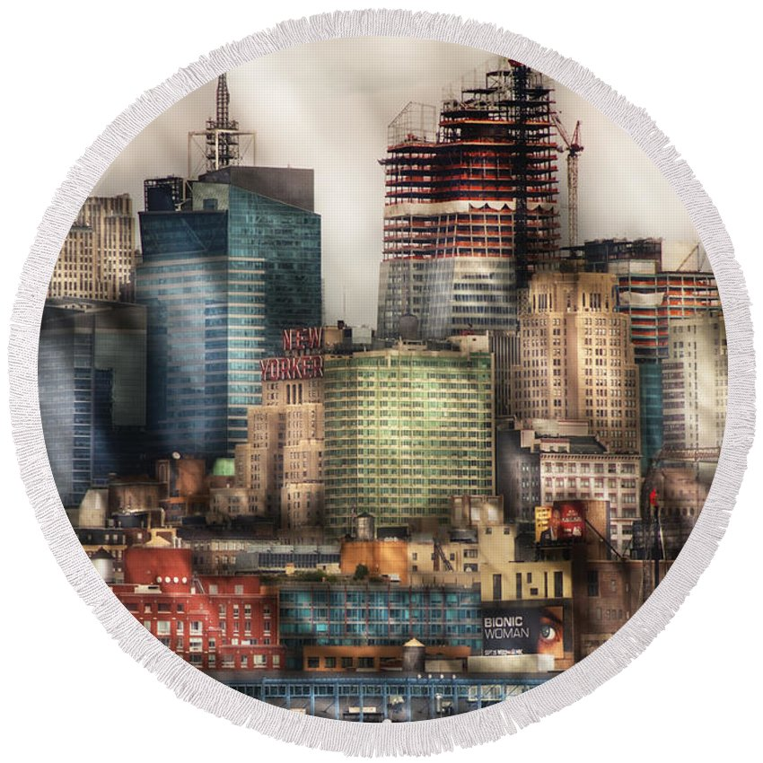 Savad Round Beach Towel featuring the photograph City - Hoboken Nj - New York Skyscrapers by Mike Savad