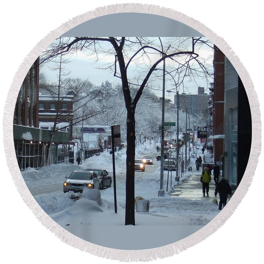 Round Beach Towel featuring the photograph City In Snow by Katerina Naumenko