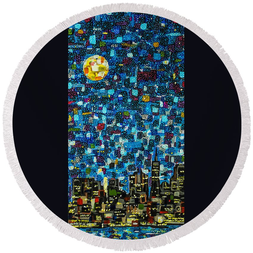 Mosaic Round Beach Towel featuring the painting City Mosaic by Joel Tesch