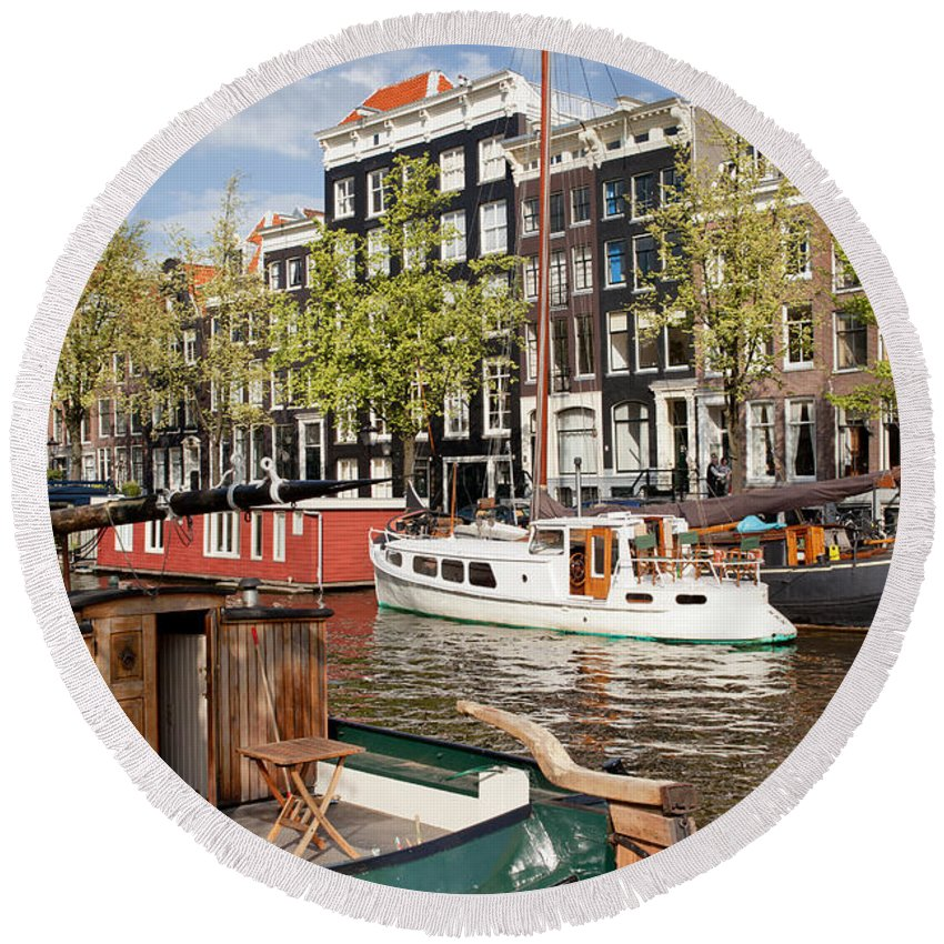 Amsterdam Round Beach Towel featuring the photograph City Of Amsterdam by Artur Bogacki