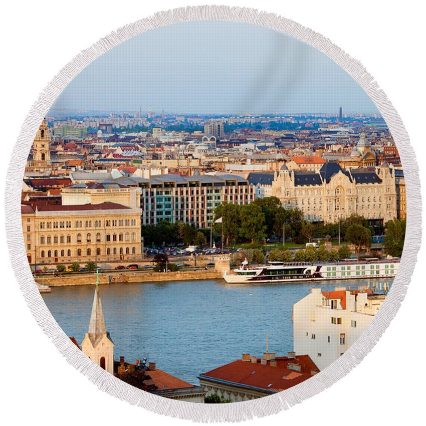 Budapest Round Beach Towel featuring the photograph City Of Budapest Cityscape by Artur Bogacki