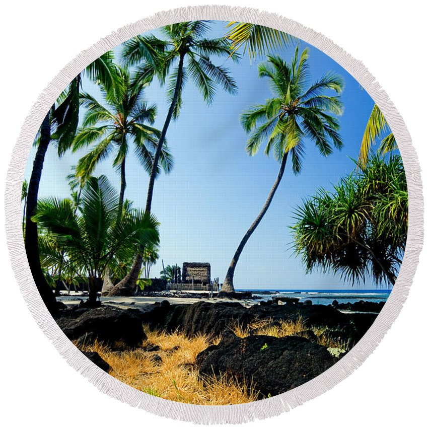 City Of Refuge Round Beach Towel featuring the photograph City Of Refuge - A View Of A Hawaiian Traditional House by Nature Photographer