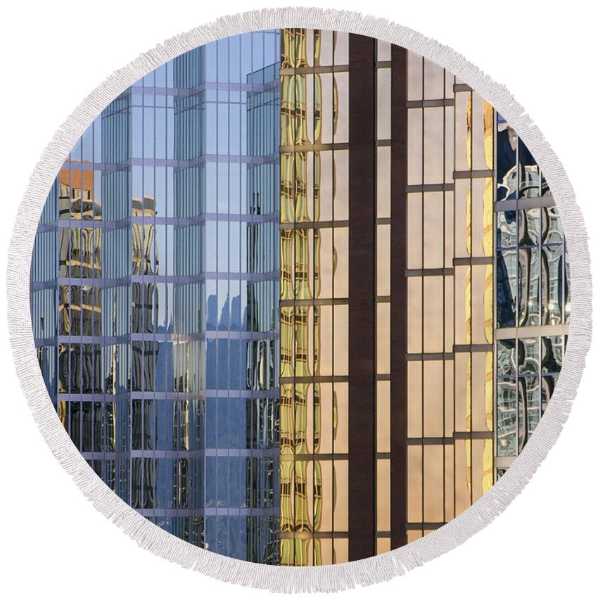 Urban Round Beach Towel featuring the photograph City Reflections by Sandra Bronstein