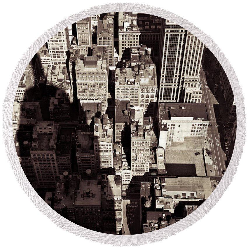 New York Round Beach Towel featuring the photograph City Shadow by Dave Bowman