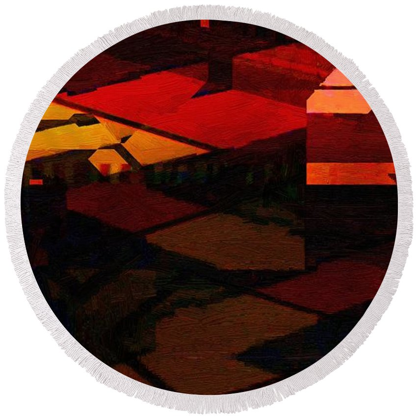 Abstract Round Beach Towel featuring the painting City Sidewalks by RC DeWinter