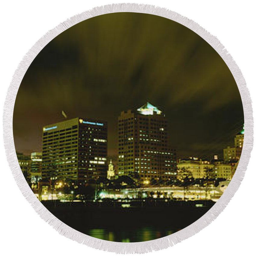 Photography Round Beach Towel featuring the photograph City Skyline With Milwaukee Art Museum by Panoramic Images