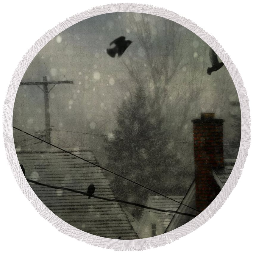 Rooftops Round Beach Towel featuring the photograph City Snow by Gothicrow Images