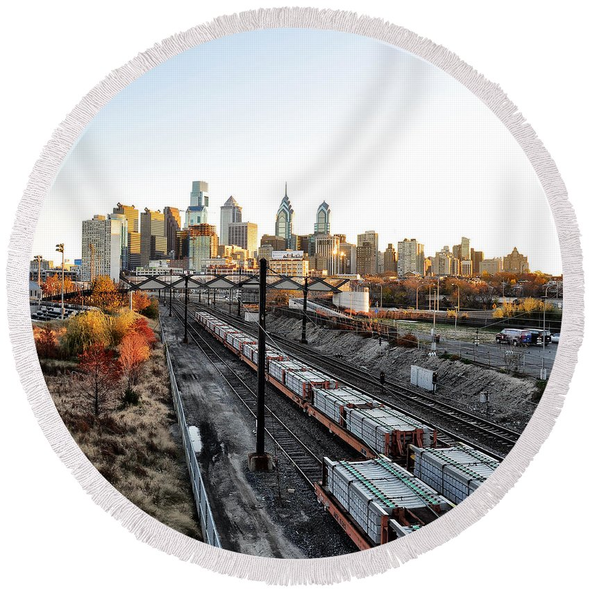 City Up The Tracks Round Beach Towel featuring the photograph City Up The Tracks by Bill Cannon