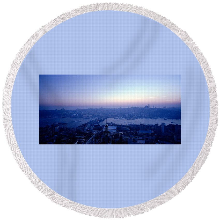 Istanbul Round Beach Towel featuring the photograph Romance Of Istanbul by Shaun Higson