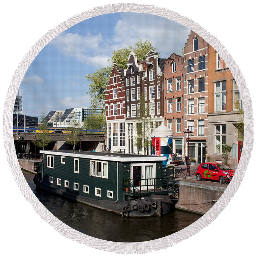 Amsterdam Round Beach Towel featuring the photograph Cityscape Of Amsterdam by Artur Bogacki