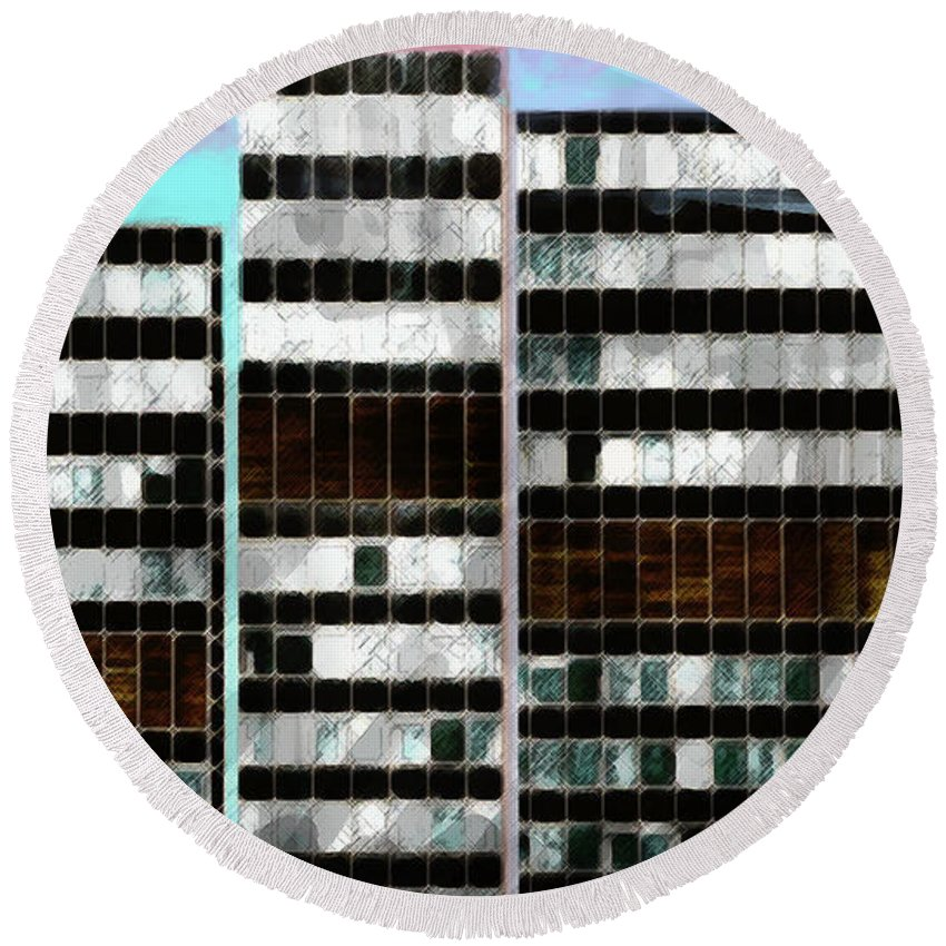 City Round Beach Towel featuring the digital art Citysky by Scott Smith