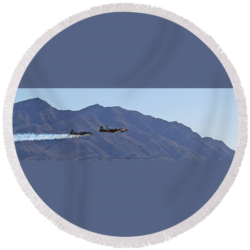 Cj6 Round Beach Towel featuring the photograph Cj-6 Nanchang Desert Rat Formation by Carl Deaville