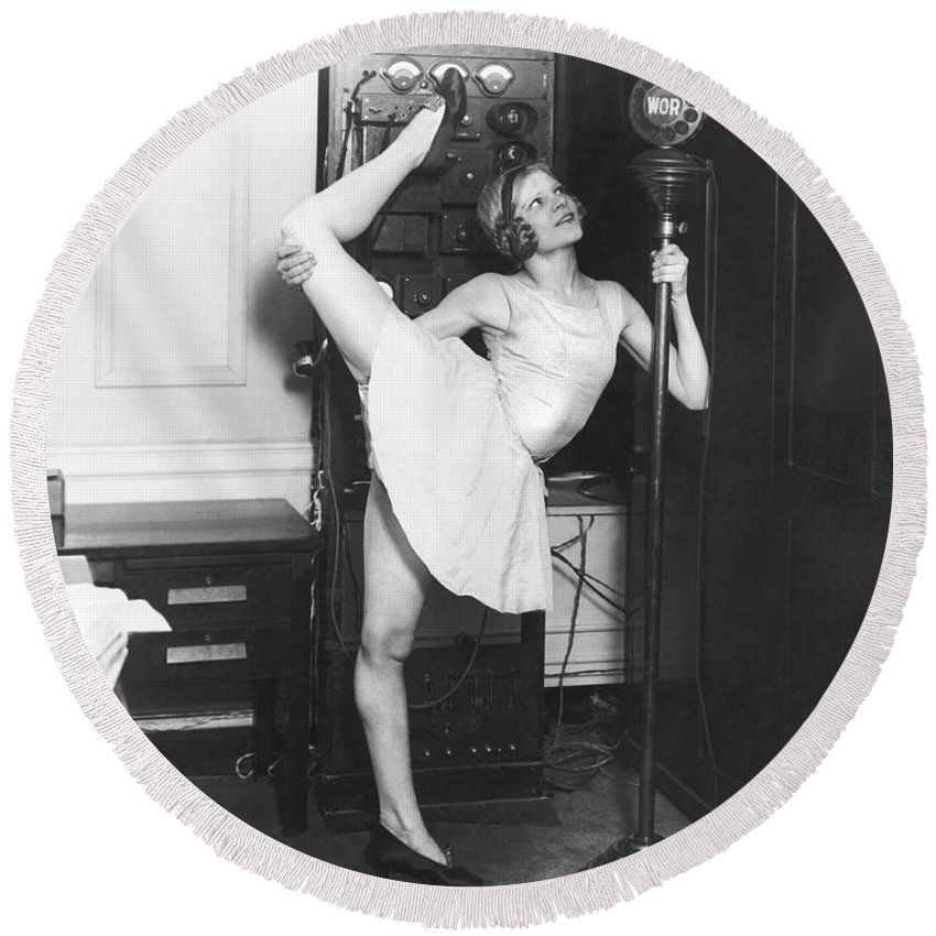 1 Person Round Beach Towel featuring the photograph Clair Luce Exercising On Radio by Underwood Archives