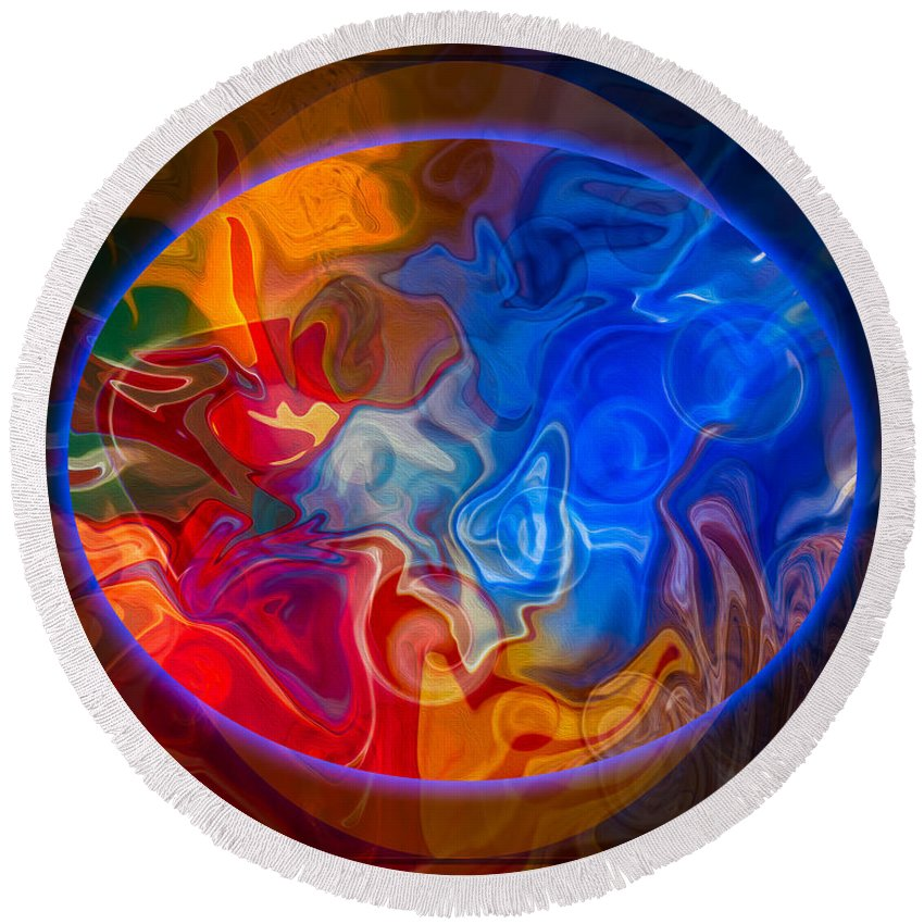 4x5 (8x10) Round Beach Towel featuring the painting Clarity In The Midst Of Confusion Abstract Healing Art by Omaste Witkowski