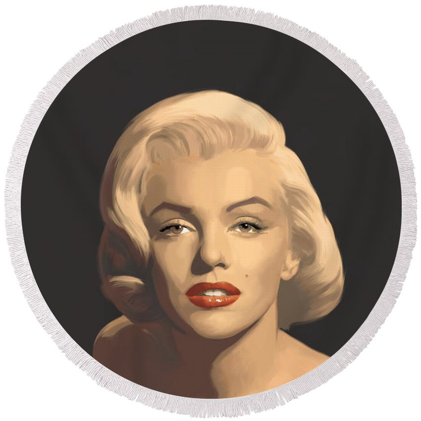 Marilyn Round Beach Towel featuring the painting Classic Beauty In Graphic Gray by Chris Consani