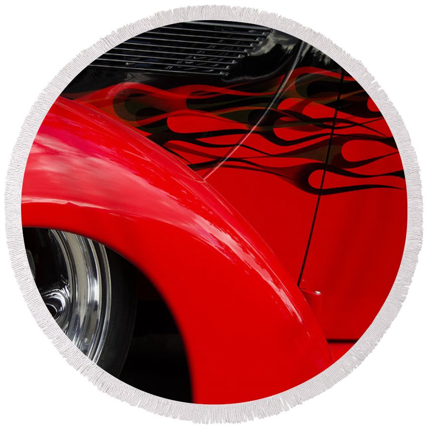 Car Shows Round Beach Towel featuring the photograph Classic Cars Beauty By Design 11 by Bob Christopher