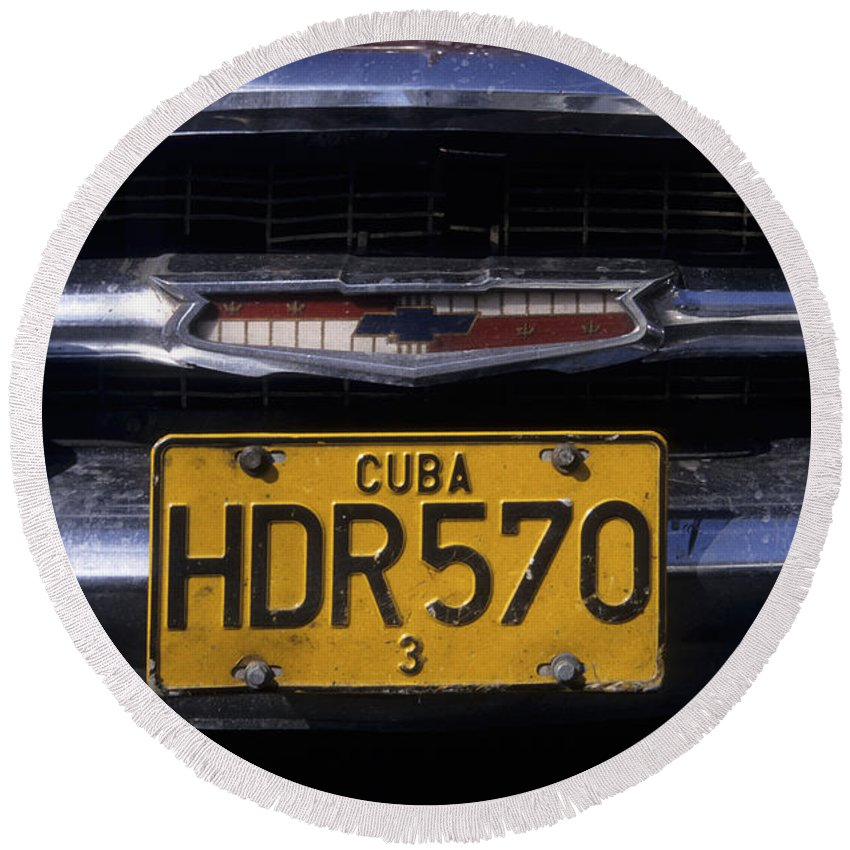 Cuba Round Beach Towel featuring the photograph Classic Chevy In Cuba by James Brunker