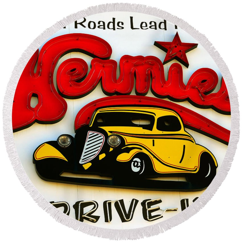 Classic Drive In Sign Round Beach Towel featuring the photograph Classic Drive In Sign by David Lee Thompson