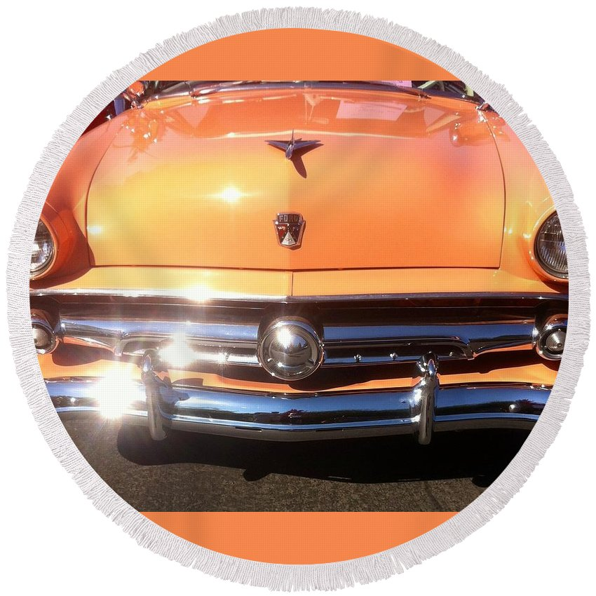 Classic Car Hood Round Beach Towel featuring the photograph Classic Ford Car Hood Peach by Susan Garren