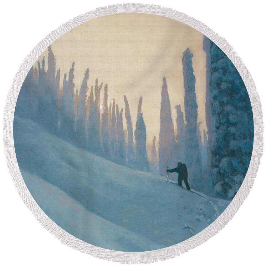 Ski Round Beach Towel featuring the painting Classic Kootenay by Drew Gibson