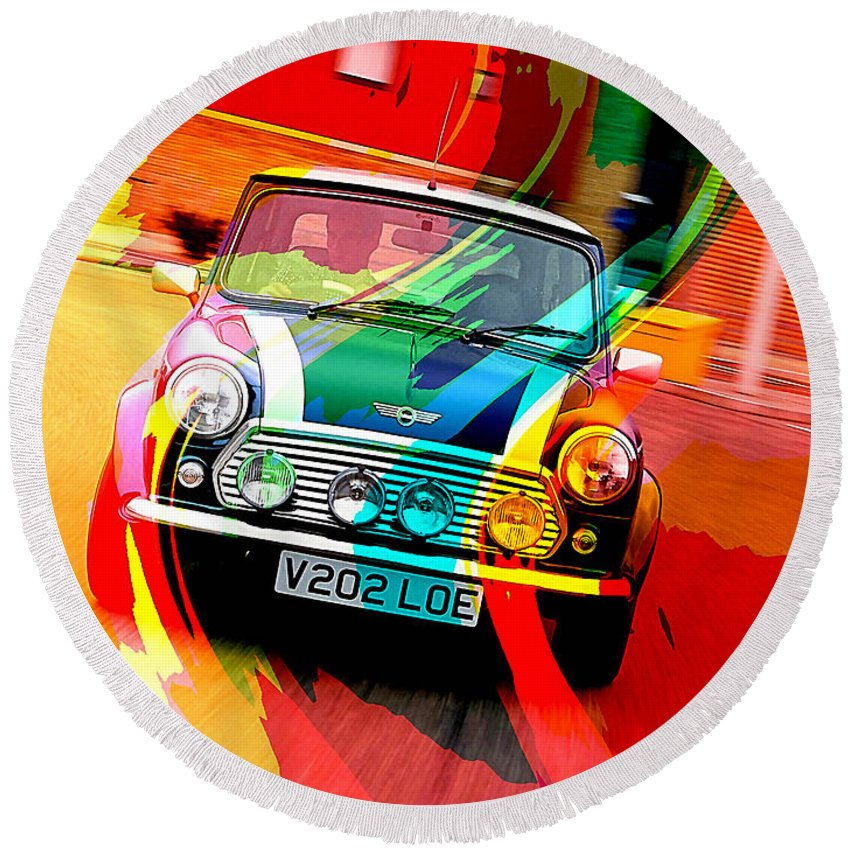 Car Photographs Mixed Media Mixed Media Round Beach Towel featuring the mixed media Classic Mini Cooper by Marvin Blaine