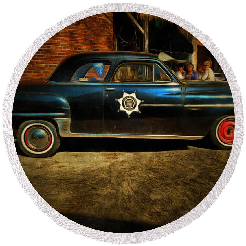 Sheriff Round Beach Towel featuring the photograph Classic Police Car by Claire Bull