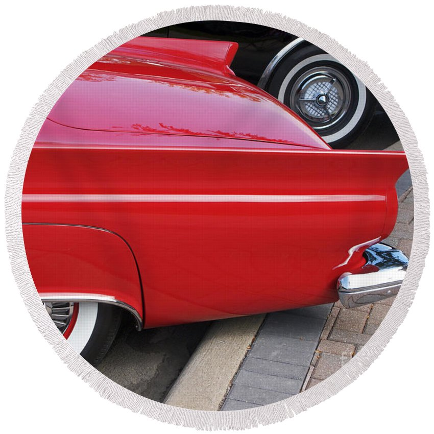 Classic Car Round Beach Towel featuring the photograph Classic Red And Black by Ann Horn