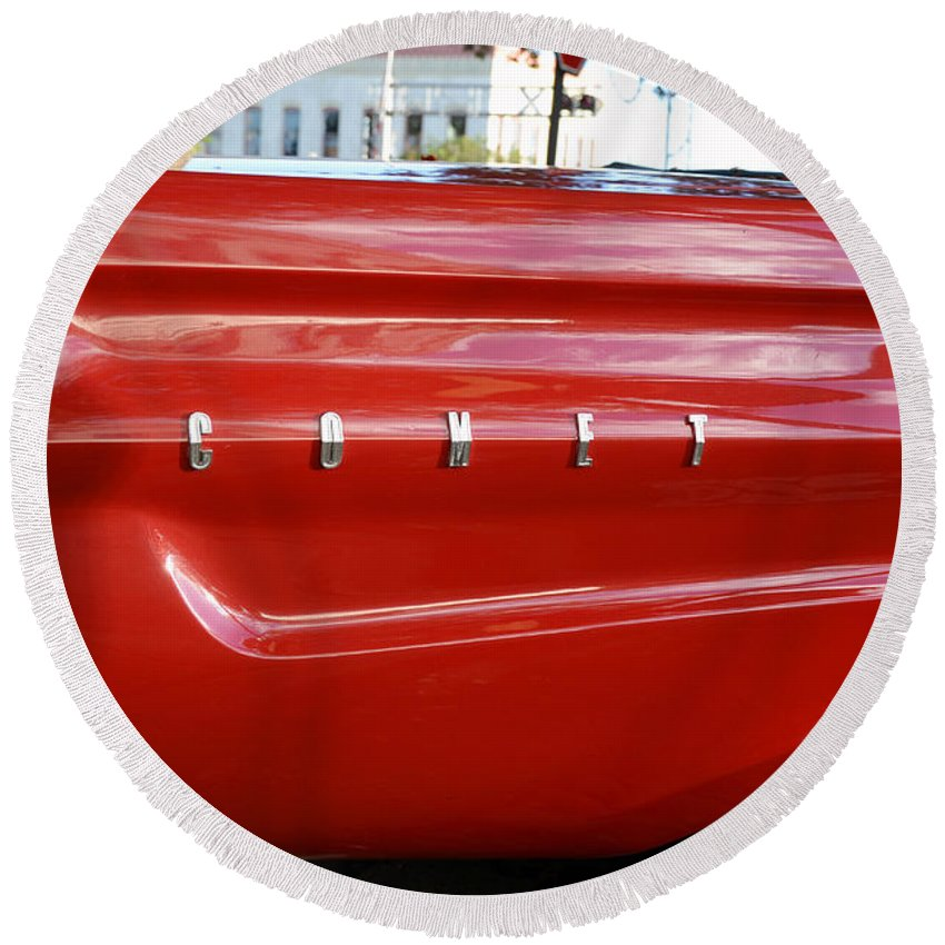 1964 Ford Comet Round Beach Towel featuring the photograph Classic Red Comet by David Lee Thompson