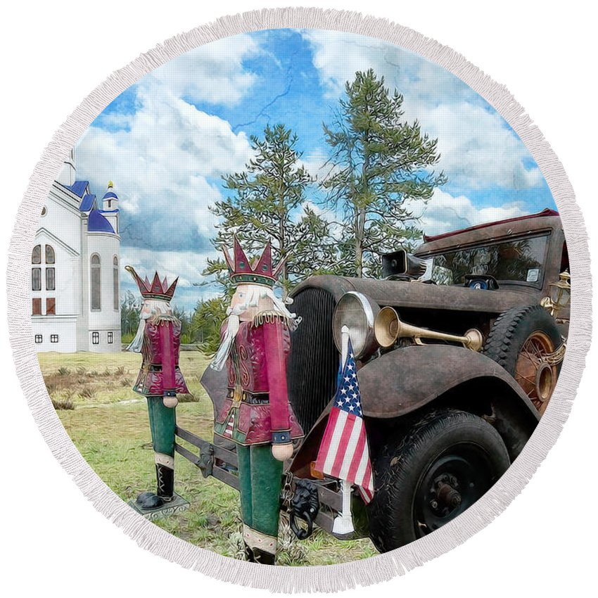 Brown Round Beach Towel featuring the photograph Classic Ride by Liane Wright