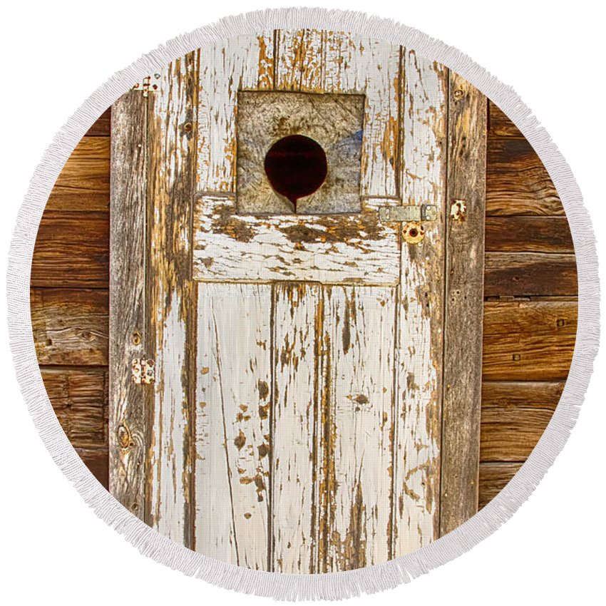 Doors Round Beach Towel featuring the photograph Classic Rustic Rural Worn Old Barn Door by James BO Insogna