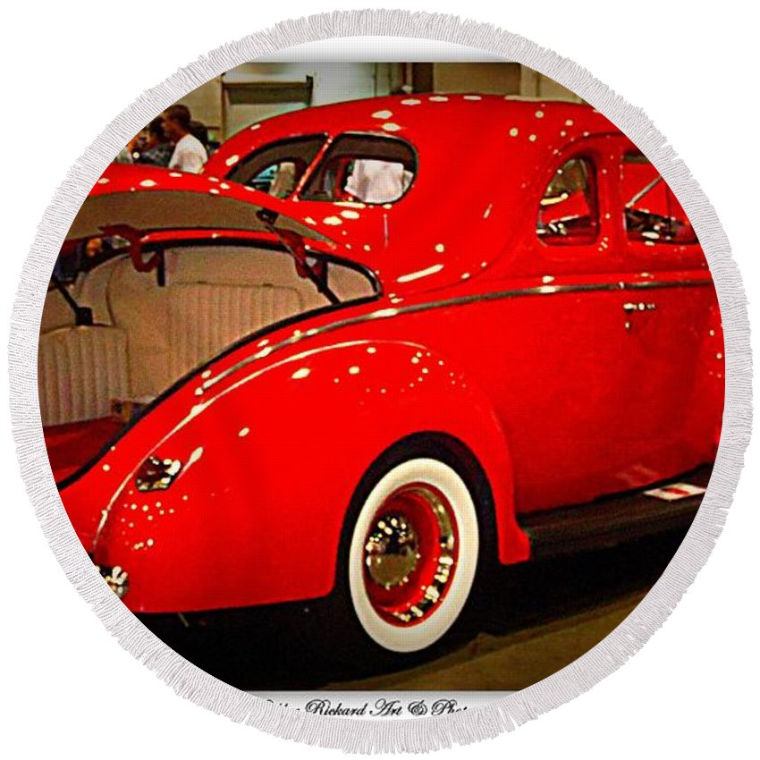 Classic Car Round Beach Towel featuring the photograph Classically Orange by Bobbee Rickard