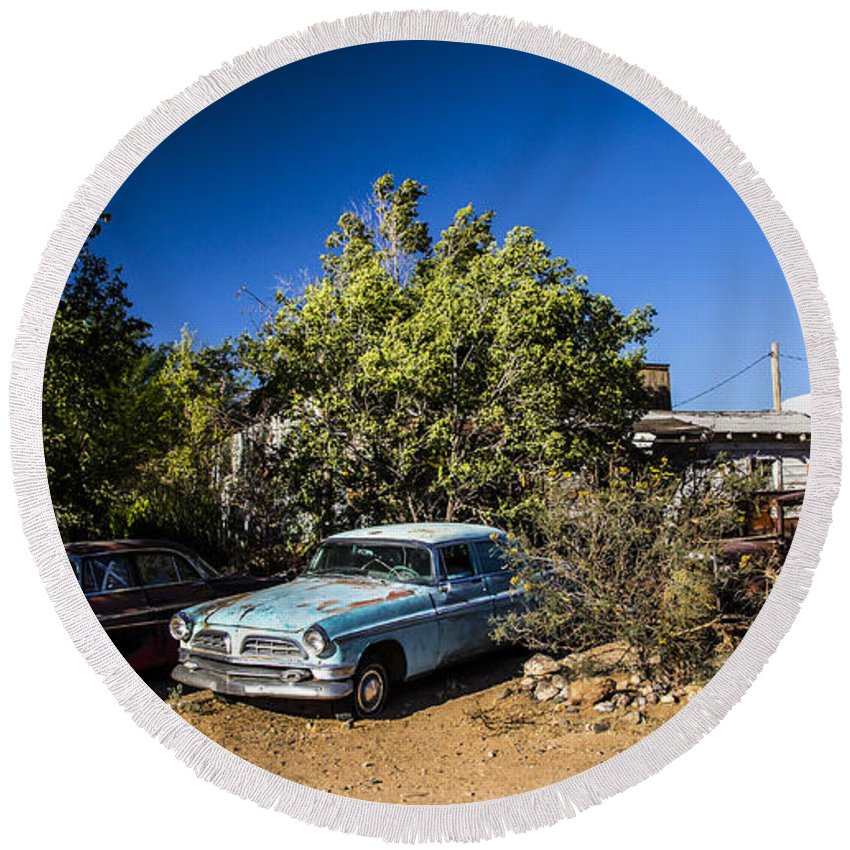 Route 66 Round Beach Towel featuring the photograph Classics 2 by Angus Hooper Iii