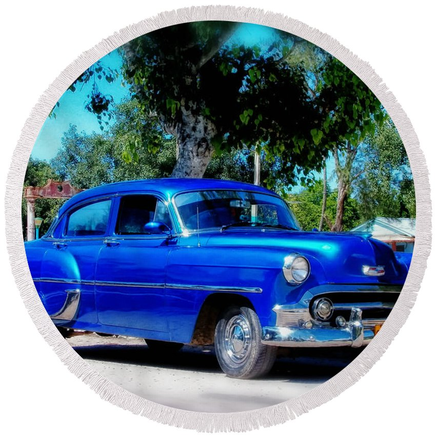Havana Round Beach Towel featuring the photograph Classics Of Cuba by Mountain Dreams