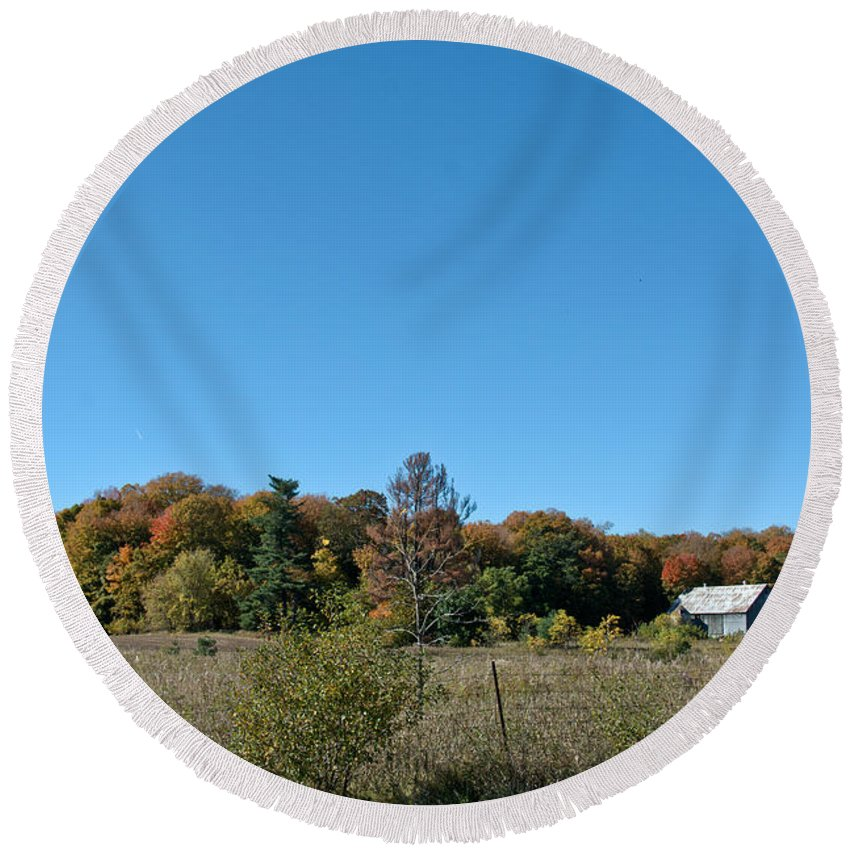 Round Beach Towel featuring the photograph Clear Autumn Country Sky by Cheryl Baxter