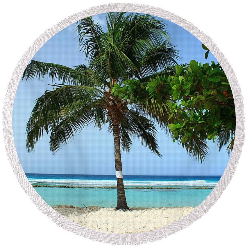 Barbados Round Beach Towel featuring the photograph Clear Blue Ocean by Catie Canetti