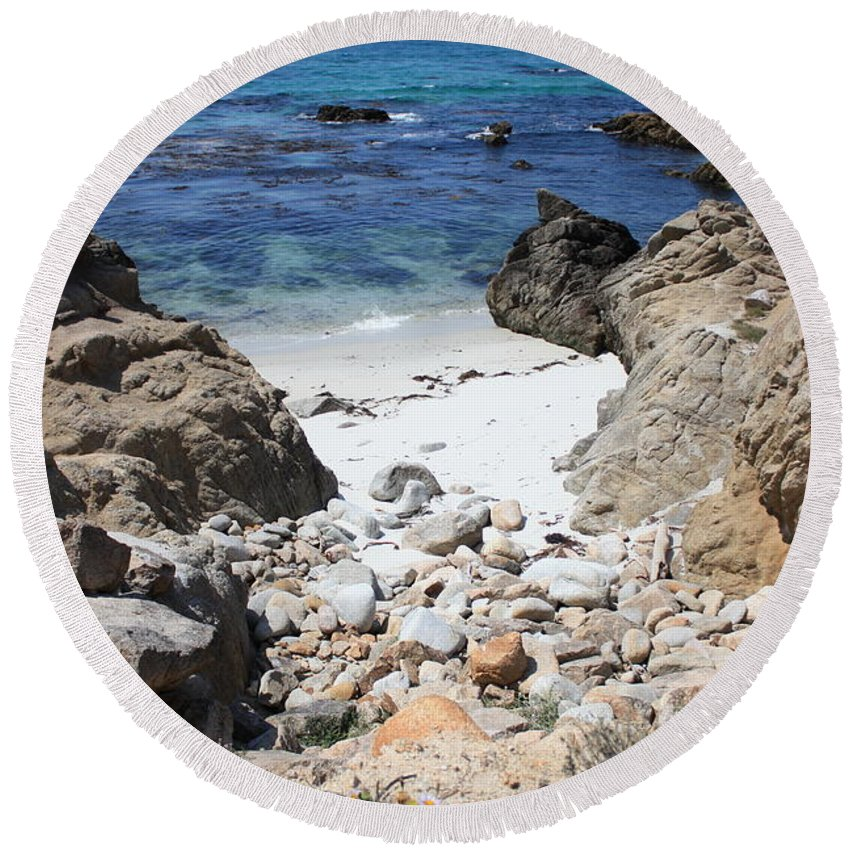 Landscape Round Beach Towel featuring the photograph Clear California Cove by Carol Groenen