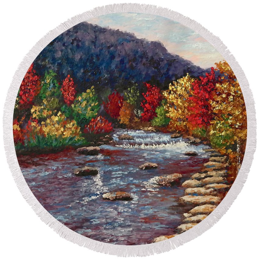 Landscape Round Beach Towel featuring the painting Clear Creek In Golden Colorado by Francesca Kee