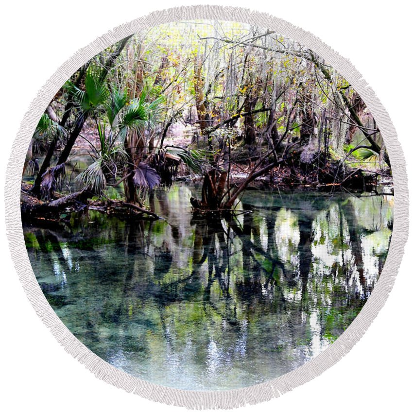 Springs Round Beach Towel featuring the photograph Clear Florida Springs by Carol Groenen