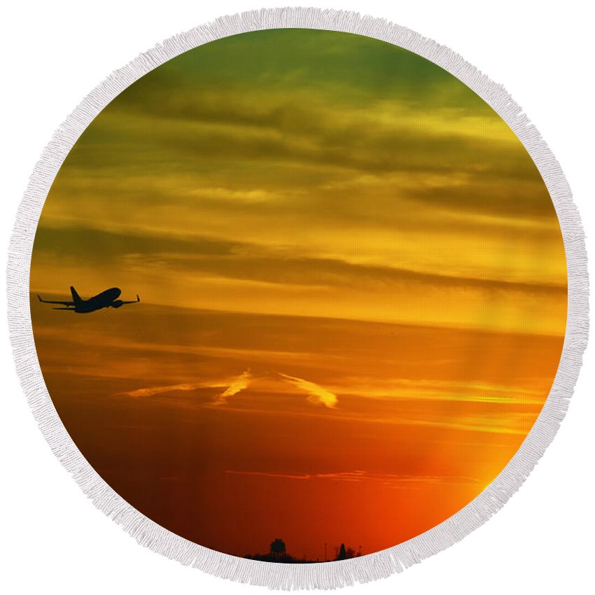 Take Off Round Beach Towel featuring the photograph Cleared For Takeoff by Gary Mosman