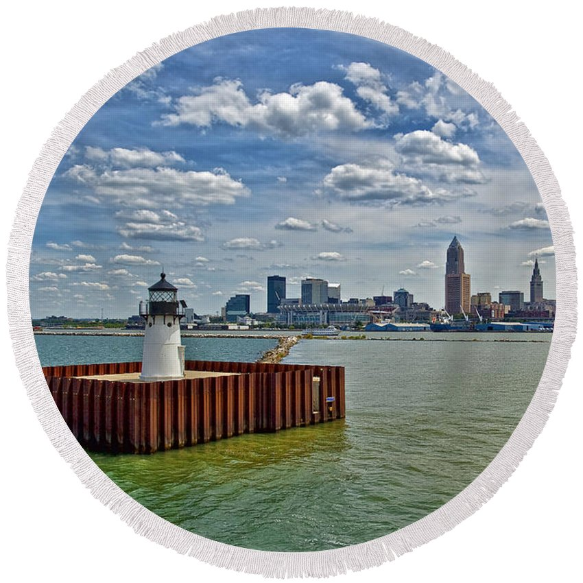 Architecture Round Beach Towel featuring the photograph Cleveland Harbor by Marcia Colelli