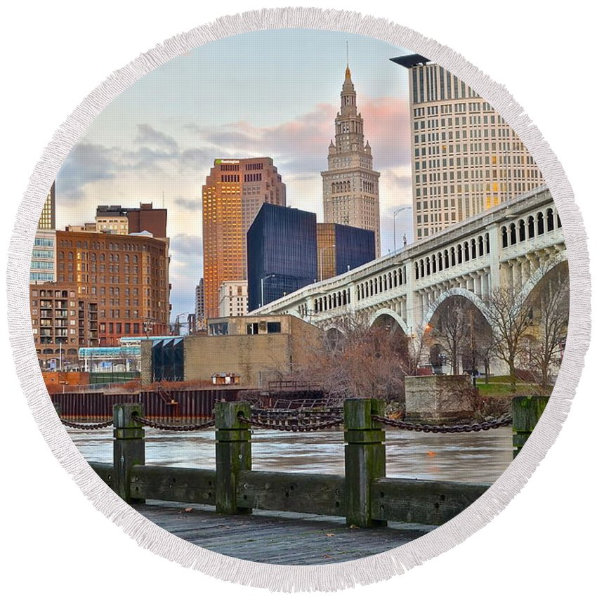 Cleveland Round Beach Towel featuring the photograph Cleveland Ohio by Frozen in Time Fine Art Photography