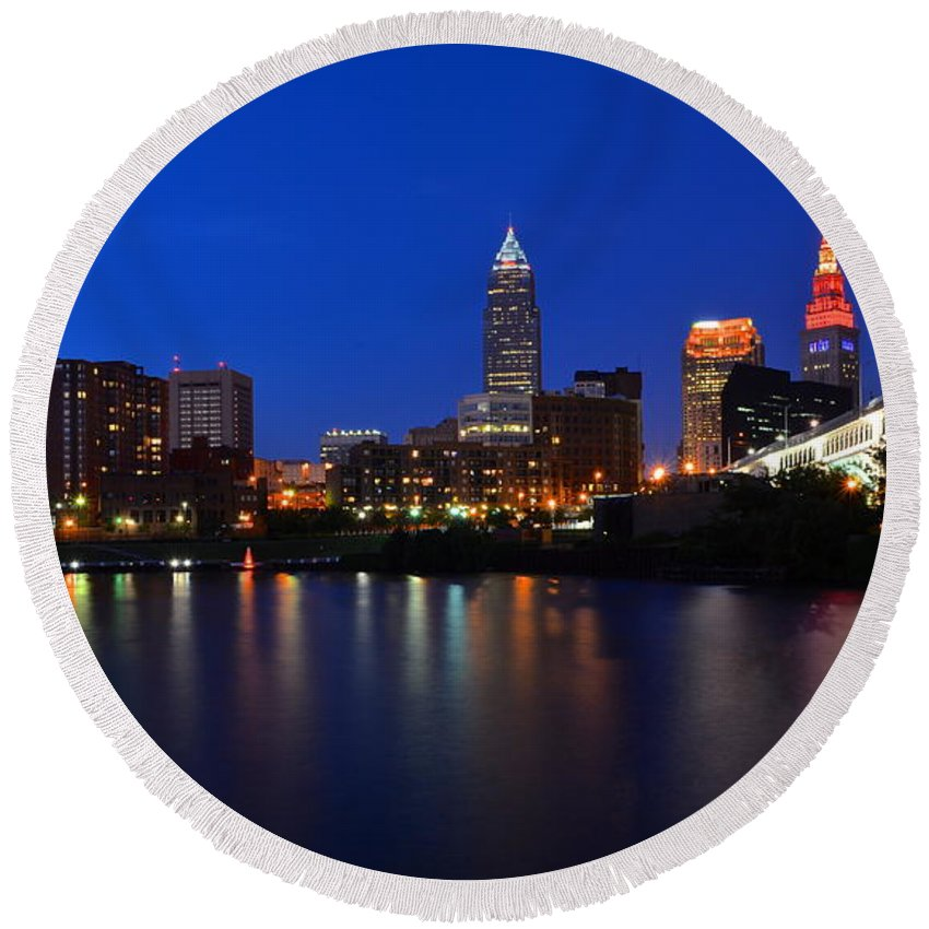 Panorama Round Beach Towel featuring the photograph Cleveland Panorama by Frozen in Time Fine Art Photography