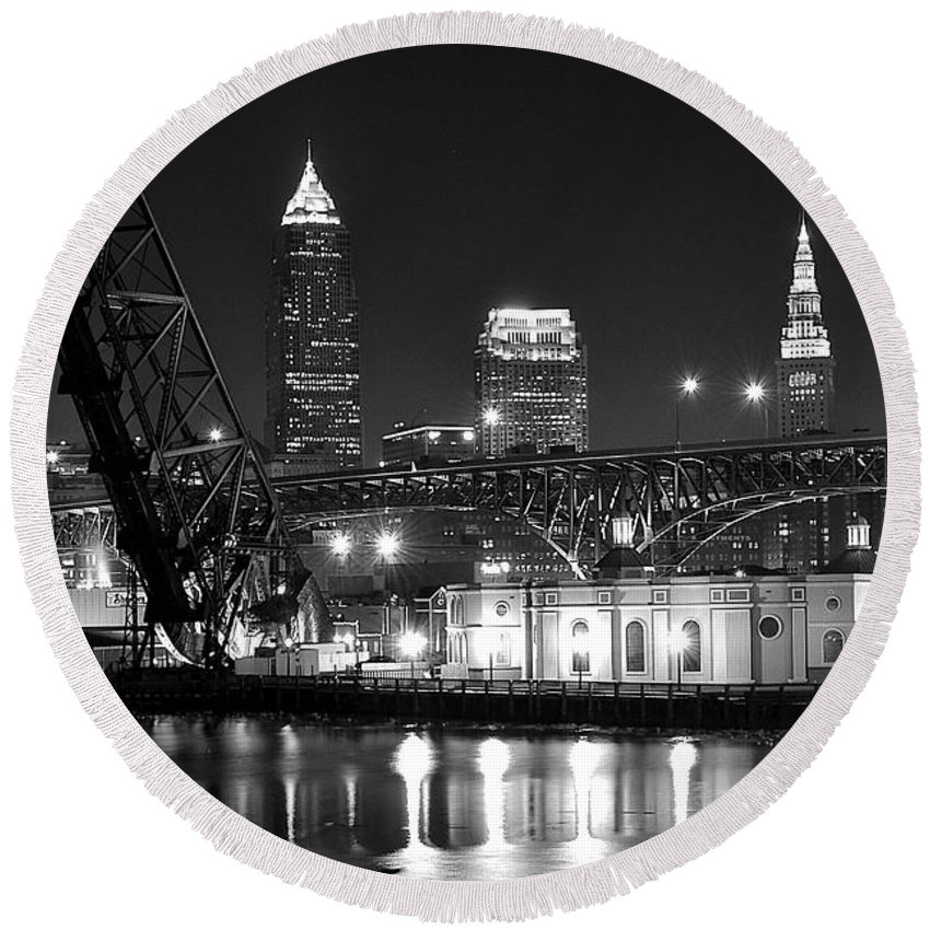 Cleveland Round Beach Towel featuring the photograph Cleveland Shining Bright by Frozen in Time Fine Art Photography