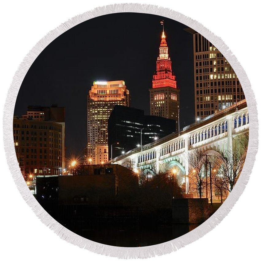 Cleveland Round Beach Towel featuring the photograph Cleveland Up Close by Frozen in Time Fine Art Photography