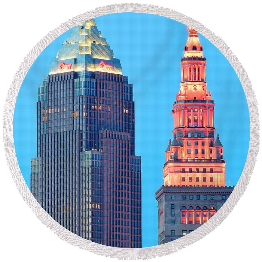 Cleveland Round Beach Towel featuring the photograph Clevelands Iconic Towers by Frozen in Time Fine Art Photography