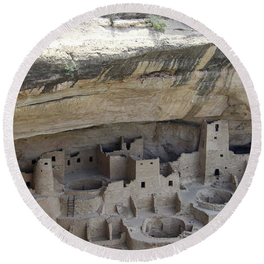 Spruce Tree House Round Beach Towel featuring the photograph Cliff Palace Overview by Christiane Schulze Art And Photography