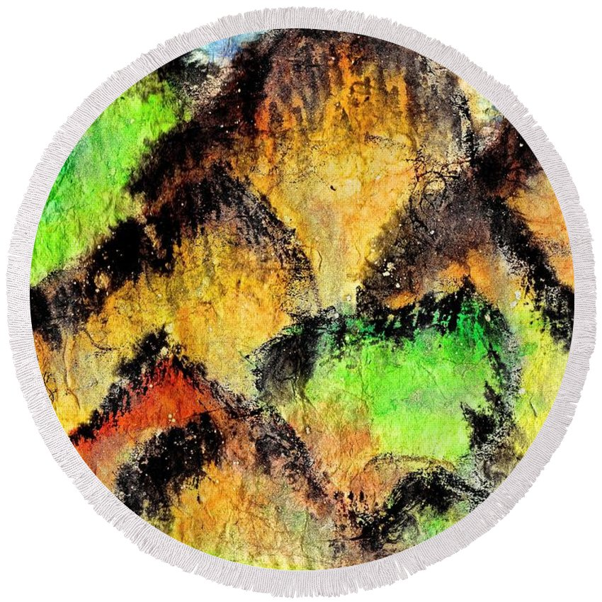 Hand Painted Round Beach Towel featuring the painting Climb Every Mountain by Joan Reese