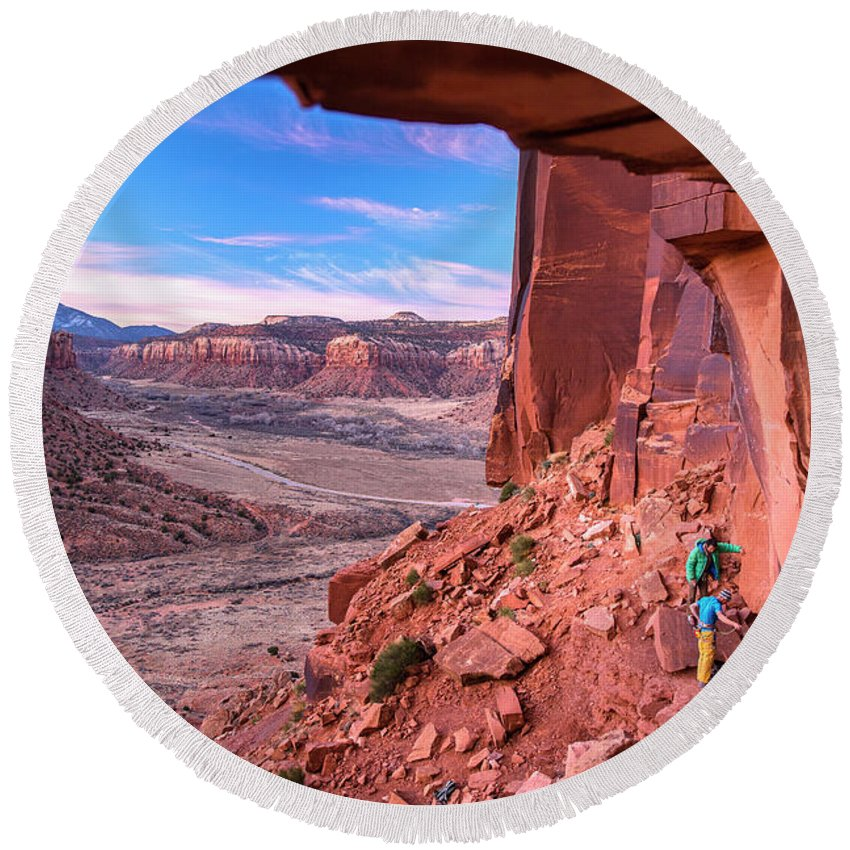 Utah Round Beach Towel featuring the photograph Climbers Getting Ready For Rock by Kamil Sustiak