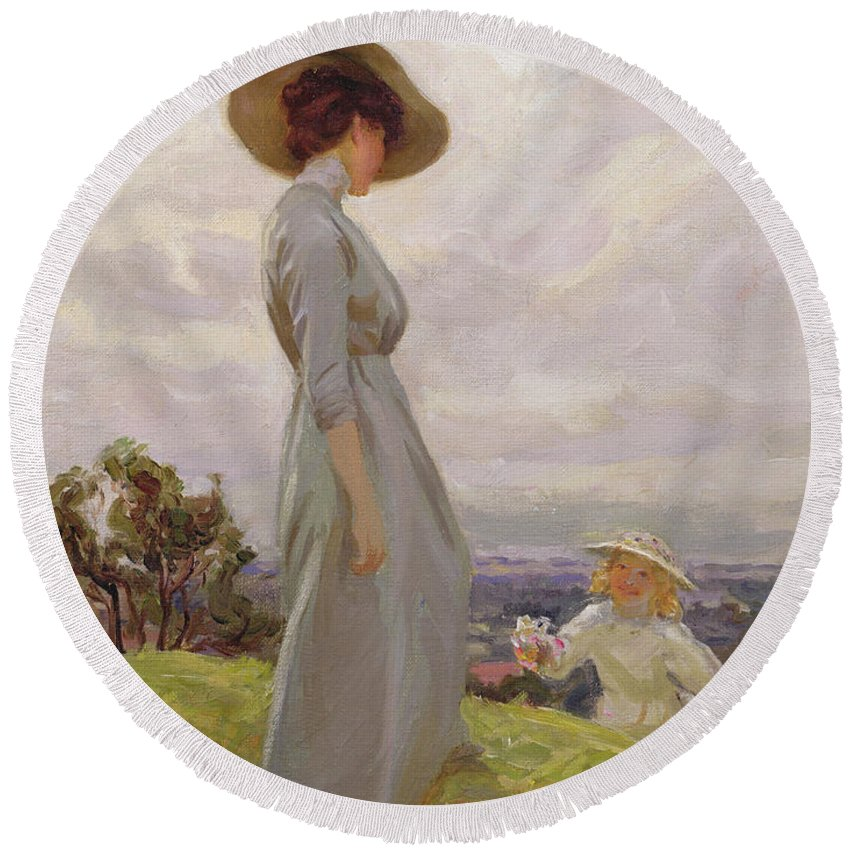 Edwardian Round Beach Towel featuring the painting Climbing Up The Hillside by Frederick Stead