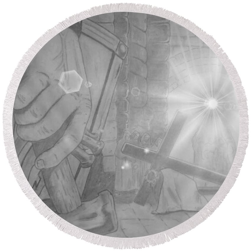 Justin W Moore Round Beach Towel featuring the drawing Clinging To The Cross Lights by Justin Moore